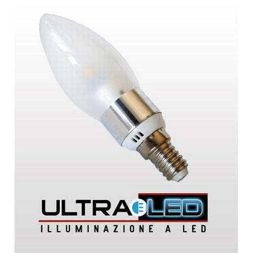 Lampadina a candela trasparente 3W E14 Bianco Caldo